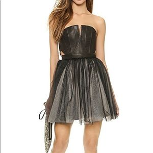 Alice+Olivia leather and tulle strapless dress NWT